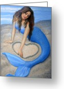 Heart Greeting Cards - Blue Mermaids Heart Greeting Card by Sue Halstenberg
