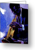 Brass Instruments Greeting Cards - Blue Miles Greeting Card by David Lloyd Glover