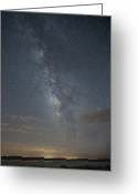 Weather Photographs Greeting Cards - Blue Milky Way Greeting Card by Melany Sarafis