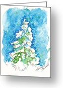 Holiday Notecard Greeting Cards - Blue Mood Christmas Tree Greeting Card by Michele Hollister - for Nancy Asbell
