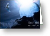 Blue Moon Greeting Cards - Blue Moon - 7D12372 Greeting Card by Wingsdomain Art and Photography