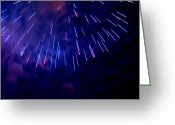 Pyrotechnics Greeting Cards - Blue Moon Burst Greeting Card by Paul Mangold