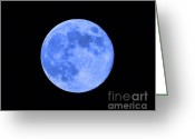 Selective Color Greeting Cards - Blue Moon Close Up Greeting Card by Al Powell Photography USA