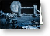 Duotone Greeting Cards - Blue Moon Greeting Card by Donald Davis