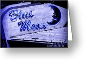 Neon Sign Greeting Cards - Blue Moon Greeting Card by Perry Webster