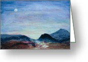 Gold Mountain Mixed Media Greeting Cards - Blue Moon Valley Greeting Card by Marie Baehr
