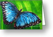Most Painting Greeting Cards - Blue Morpho Butterfly Greeting Card by Zaira Dzhaubaeva