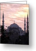 Sunset Posters Greeting Cards - Blue Mosque at Night Greeting Card by John Rizzuto