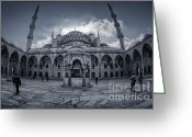 Eastern Turkey Greeting Cards - Blue Mosque courtyard Greeting Card by Joan Carroll