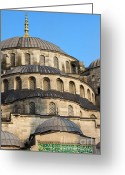 Byzantine Greeting Cards - Blue Mosque Domes Greeting Card by Artur Bogacki