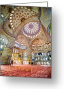 Sultan Greeting Cards - Blue Mosque Interior Greeting Card by Artur Bogacki
