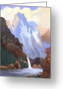 Colorado Rockies Mixed Media Greeting Cards - Blue Mountain Falls Greeting Card by Donn Kay