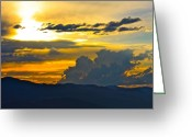 Missoula Greeting Cards - Blue Mountain Sunset Greeting Card by Karon Melillo DeVega
