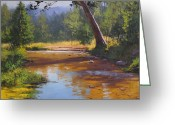 Signed Painting Greeting Cards - Blue Mountains Coxs River Greeting Card by Graham Gercken