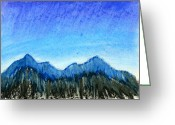 Expressive Pastels Greeting Cards - Blue Mountains Greeting Card by Hakon Soreide
