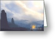 Lord Of The Rings Greeting Cards - Blue mountains  Greeting Card by Pixel  Chimp