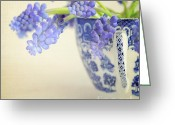 Textured Floral Greeting Cards - Blue Muscari flowers in blue and white china cup Greeting Card by Lyn Randle