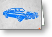 Funny Car Greeting Cards - Blue Muscle Car Greeting Card by Irina  March