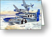 Plane Drawings Greeting Cards - Blue Nosed Bastards of Bodney Greeting Card by Charles Taylor