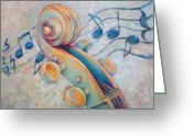 Classical Music Art Greeting Cards - Blue Notes - Cello Scroll in Blues Greeting Card by Susanne Clark