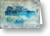 Abstract Landscapes Greeting Cards - Blue on Blue Greeting Card by Ann Powell