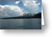 Alpine Panorama Greeting Cards - Blue on Blue Lake Tahoe Greeting Card by LeeAnn McLaneGoetz McLaneGoetzStudioLLCcom