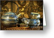 Asia Greeting Cards - Blue oriental teapot with cups  Greeting Card by Sandra Cunningham