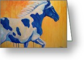 Running Horse Painting Greeting Cards - Blue Paint Greeting Card by Theresa Paden