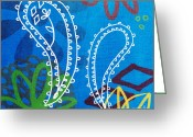 West Indian Mixed Media Greeting Cards - Blue Paisley Garden Greeting Card by Linda Woods