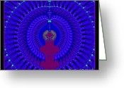 Beautiful Purples Greeting Cards - Blue Peacock Fractal 92 Greeting Card by Rose Santuci-Sofranko