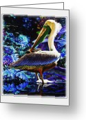 Seabirds Mixed Media Greeting Cards - Blue Pelican Greeting Card by John Breen