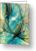Interior Mixed Media Greeting Cards - Blue Phoenix Greeting Card by Anastasiya Malakhova