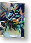 Pitcher Greeting Cards - Blue Pitcher Greeting Card by Mindy Newman
