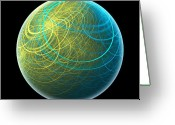 Fractal Art Greeting Cards - Blue Planet Greeting Card by Pam Blackstone