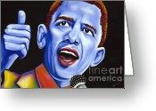 Nannette Harris Greeting Cards - Blue pop President Barack Obama Greeting Card by Nannette Harris