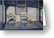 Egg Tempera Painting Greeting Cards - Blue Porch with Chairs Greeting Card by John Entrekin