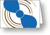 Abstract Design Drawings Greeting Cards - Blue Propeller Greeting Card by Frank Tschakert