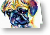 Sad Greeting Cards - Blue Pug Greeting Card by Christy  Freeman