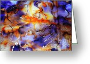 Artwork Tapestries - Textiles Greeting Cards - Blue Purple Orange Yellow and Silver  Greeting Card by Alexandra Jordankova