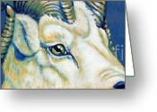 Horns Painting Greeting Cards - Blue Ram Greeting Card by Pat Burns