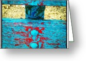 Background Greeting Cards - #blue #red #wooden #bench #grunge Greeting Card by Cristina Sferra