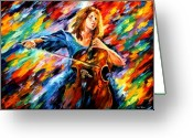 Afremov Greeting Cards - Blue Rhapsody Greeting Card by Leonid Afremov