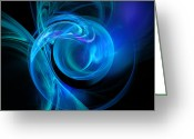 Twirl Greeting Cards - Blue Greeting Card by Ricky Barnard