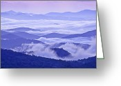 Cloudscape Photographs Greeting Cards - Blue Ridge Morning Panorama Greeting Card by Rob Travis