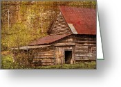 Red Roof Greeting Cards - Blue Ridge Mountain Barn Greeting Card by Debra and Dave Vanderlaan