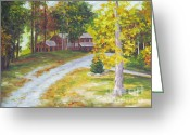 Log Cabins Painting Greeting Cards - Blue Ridge Mountain Cabin Greeting Card by Diane Hewitt