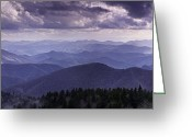 Cloudscape Photographs Greeting Cards - Blue Ridge Mountain Vista Greeting Card by Rob Travis