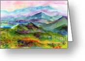 Ginette Fine Art Llc Ginette Callaway Greeting Cards - Blue Ridge Mountains Georgia Landscape  Watercolor  Greeting Card by Ginette Fine Art LLC Ginette Callaway