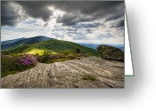 Appalachian Trail Greeting Cards - Blue Ridge Mountains Landscape - Roan Mountain Appalachian Trail NC TN Greeting Card by Dave Allen