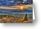 Cowee Greeting Cards - Blue Ridge Mountains Sunset Greeting Card by Mary Anne Baker